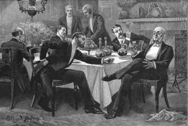 food-dinner-party-elegant-gentlemen-antique-print-1886-wdjb-130403-p