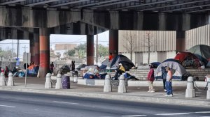 Homeless under a New Orleans overpass.